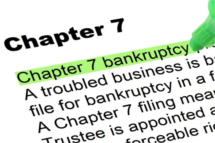 Definition of Chapter 7 Bankruptcy underlined in Book