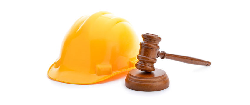 hard hat with judges gavel