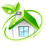 Energy efficient house with green leaf stemming from chimney
