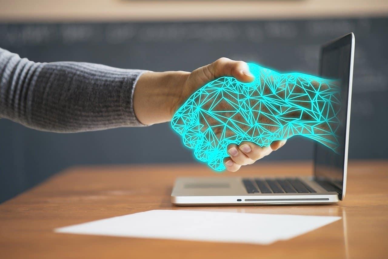 digital hand shake